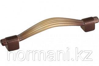 """Мебельная ручка, замак, размер посадки 96 мм, цвет золото с """"бордо"""""""
