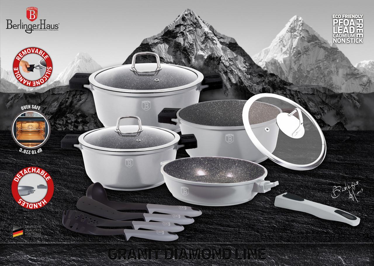 Набор посуды Berlinger Haus с гранитным покрытием Granit Diamond Line 11 пр.
