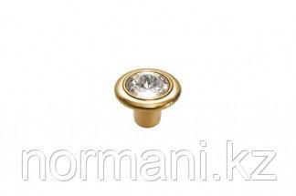 Ручка-кнопка, отделка золото 24 + горный хрусталь