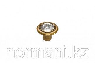 Ручка-кнопка, отделка бронза античная французская + горный хрусталь
