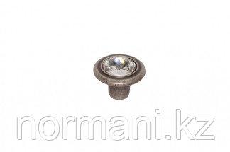Ручка-кнопка, отделка серебро античное + горный хрусталь