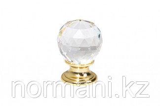Ручка-кнопка, отделка золото глянец + стекло