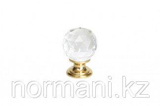 Ручка-кнопка d.26мм, отделка золото глянец + стекло