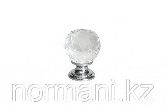 Ручка-кнопка d.26мм, отделка хром глянец + стекло