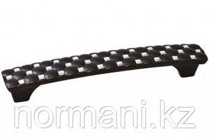 Ручка-скоба 128мм, отделка черный + горный хрусталь