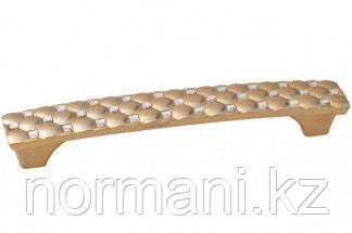 Мебельная ручка скоба, замак, размер посадки 128мм, отделка золото глянец + горный хрусталь