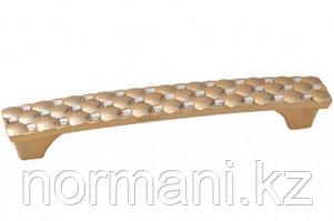 Ручка-скоба 128мм, отделка золото глянец + горный хрусталь
