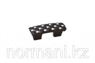 Мебельная ручка скоба, замак, размер посадки 32мм, отделка черный + горный хрусталь