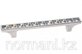 Мебельная ручка скоба, замак, размер посадки 96 мм, отделка никель глянец + горный хрусталь
