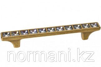 """Мебельная ручка скоба, замак, размер посадки 96 мм, отделка бронза """"Валенсия"""" + горный хрусталь"""