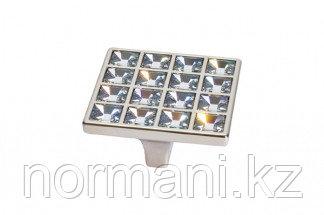 Мебельная ручка скоба, замак, размер посадки 32 мм, отделка никель глянец + горный хрусталь