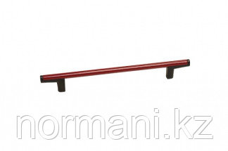 Ручка-скоба 192мм, отделка черный + красный