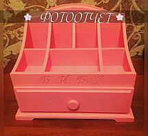 Комодик для косметики с 1 ящиком - «Розовый»