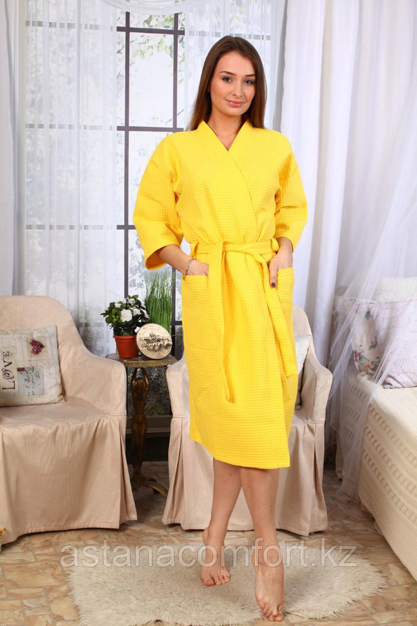 Женский вафельный банный халат-кимоно. Россия.