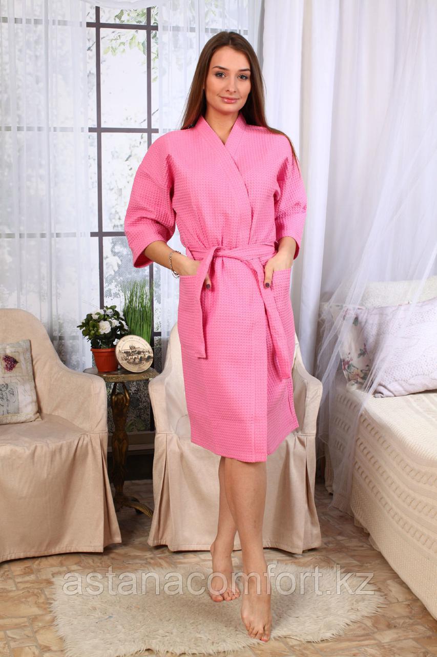 Женский вафельный банный розовый халат. Россия.