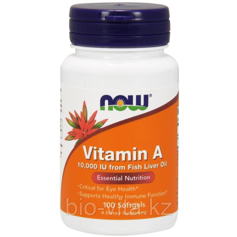 Now Foods, Витамин А, 10 000 МЕ, 100 капсул