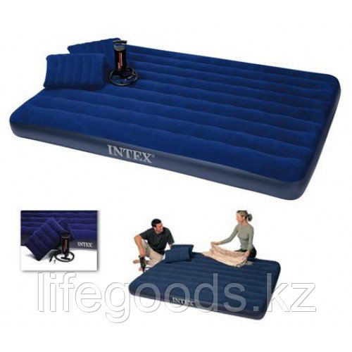Двуспальный надувной матрас с двумя подушками и насосом, Intex 68765