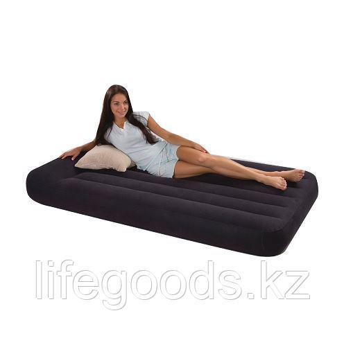 Односпальный надувной матрас 99х191x23см с подголовником, Intex 66767