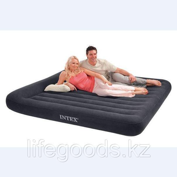 Двуспальный надувной матрас 203x183х23 см с подголовником, Intex 66770