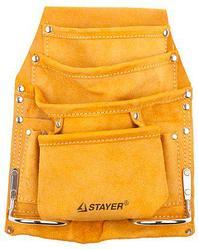 Пояс для инструментов STAYER 38505, MASTER, кожаный, 8 карманов, 2 скобы