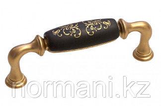 Мебельная ручка, замак, размер посадки 96мм, отделка золото матовое + керамика черная