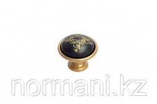 Ручка-кнопка, отделка золото матовое + керамика черная