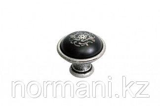 Ручка-кнопка, отделка серебро старое + керамика черная