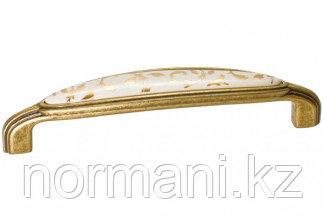 """Мебельная ручка, замак, размер посадки 128 мм, отделка бронза античная """"Флоренция"""" + керамика"""
