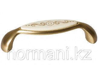 Мебельная ручка, замак, размер посадки 96 мм, отделка бронза античная французская + вставка