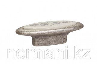 Мебельная ручка, замак, размер посадки 32мм, отделка серебро античное + вставка