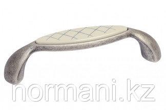 Мебельная ручка, замак, размер посадки 96мм,отделка серебро античное + вставка