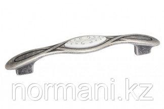 Мебельная ручка, замак, размер посадки 128мм, отделка серебро античное + вставка