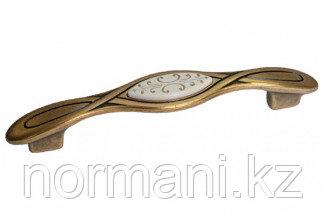 Мебельная ручка, замак, размер посадки 128мм, отделка бронза античная красная + вставка
