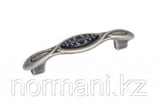 Ручка-скоба 96мм, отделка серебро античное + вставка