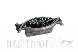 Ручка-кнопка 32мм, отделка серебро античное + вставка