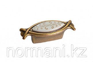 Мебельная ручка, замак, размер посадки 32мм, отделка бронза античная красная + вставка