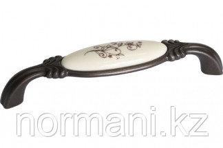 Мебельная ручка, замак, размер посадки 128мм, отделка бронза темная + керамика
