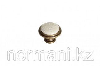 """Ручка-кнопка, отделка бронза античная """"Флоренция"""" + керамика"""