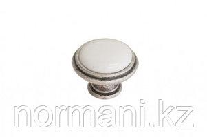 Ручка-кпопка, отделка старое серебро с блеском + керамика