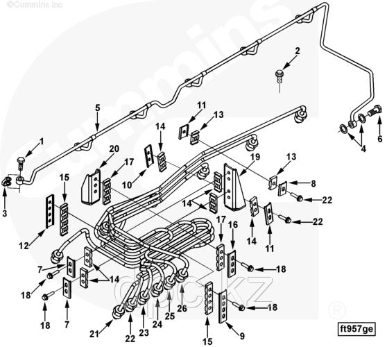 Трубка подачи топлива от рампы к форсунке 3-го цилиндра Cummins ISL 3929803