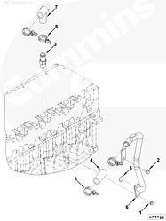 Трубка водяная блока цилиндров Cummins ISF 3.8 E-4 5298253 5298249