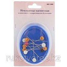 Игольница магнитная в комплекте с декор булавками