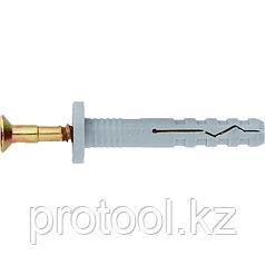 Дюбель-гвоздь полипропиленовый с цилиндрическим бортиком 6х80мм,100шт// СИБРТЕХ