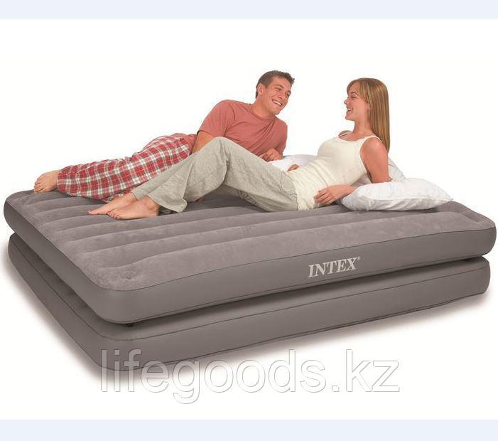 Двуспальная надувная кровать-матрас 2 в 1, Intex 67744