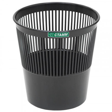 Корзина для бумаг Стамм, 09 л, сетчатая, черная, фото 2
