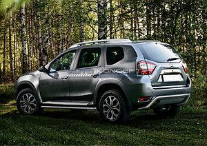 Защита заднего бампера d57 скоба Nissan Terrano 2014-