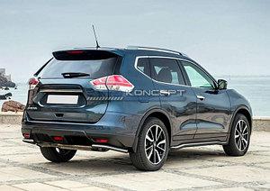 Защита заднего бампера d42 уголки Nissan X-Trail 2015-