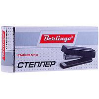 Степлер №10 Berlingo до 10л., пластиковый корпус, черный, фото 2
