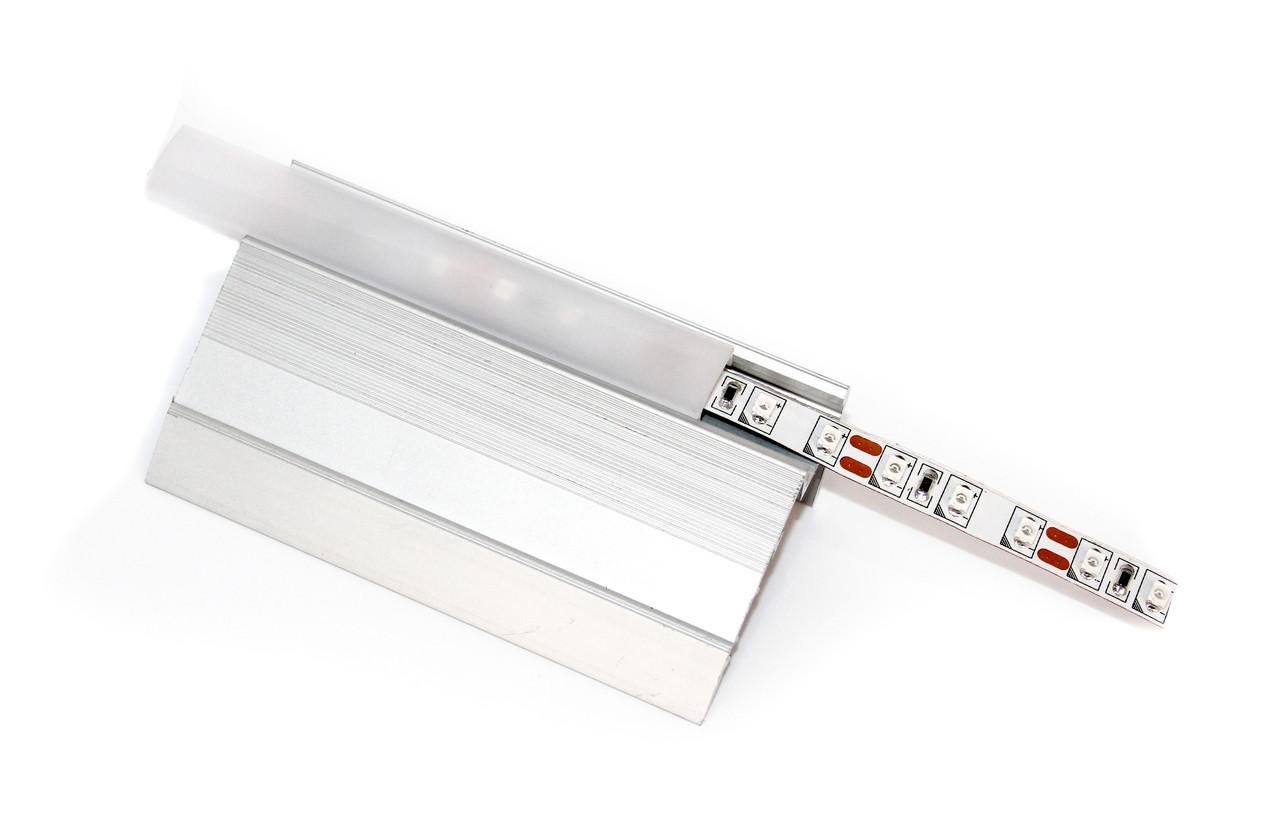 Алюминиевый профиль для подсветки в комплекте с рассеивателем  (для ступеней  HC-630 51х25)