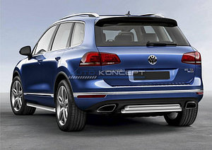 Защита заднего бампера d57+d57 Volkswagen Touareg 2014-